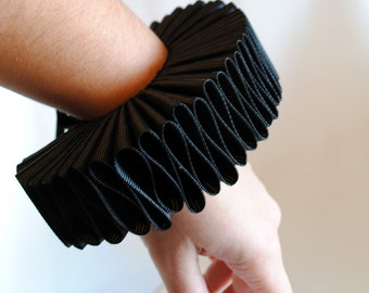 Black Elizabethan Cuffs,Gothic Wrist Cuffs-One Pair-Custom-Made to Order