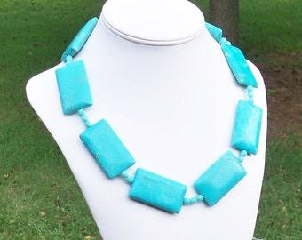 Despina - LARGE 48mm Turquoise Howlite Rectangle Gemstone Beaded STATEMENT Necklace