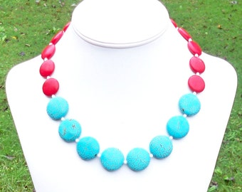 Vallen - Chunky 22mm Round Blue and Red Turquoise Gemstone Coin and White Czech Glass Beaded Necklace