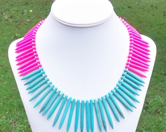 Mayer - Ethnic Chunky Spike Needle Neon Pink and Aqua Blue Turquoise Howlite Beaded Statement Necklace