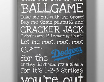 Los Angeles Dodgers- Take Me Out to the Ballgame Chalkboard Print