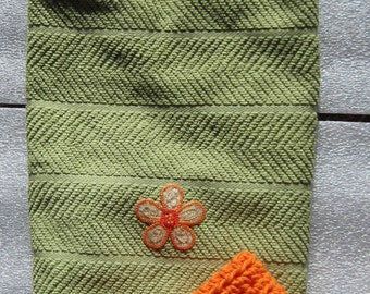 Green and orange kitchen towel with flower accents and matching washcloth---Ready to Ship