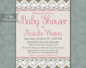 Burlap Lace Baby Shower Invitations - Printable Lace Pink Baby Girl Shower Invites - Rustic Girl Baby Shower Invitation - BUL