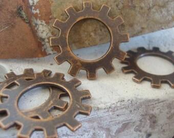4 Gears,  Metal Charms, Steampunk Gear charms