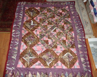 Home Made Quilt/Bedspread, 'Pink & Lilac Traditions'