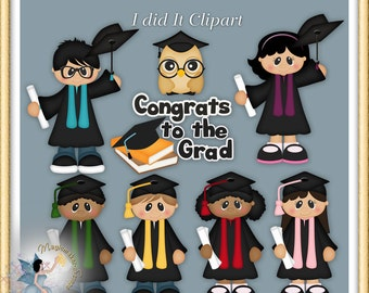 Graduation Clipart, Digital Scrapbook Elements for Commercial Use, I did It