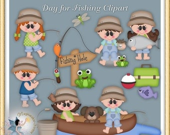 Day for Fishing Clipart, Summer, digital scrapbook,