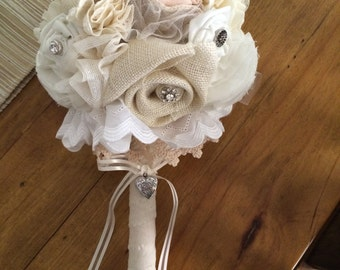 Vintage inspired fabric bridal bouquet in cream and peach