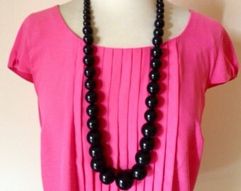 Black Vintage bold chunky necklace 80's - FREE shipping