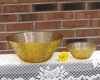 Gold Chip and Dip Bowls Soreno 1960s Retro Mad Men Harvest Gold Anchor Hocking