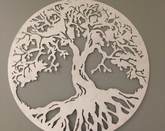 Round Tree of Life industrial metal wall art 24""