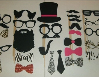 Photo Booth Props Mustache on a stick Weddings Birthdays Party DIY 27pc (2015DC)