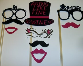 DIY - 50th Birthday Photo Booth Props Mustache on a stick 50th Birthday (2039D)