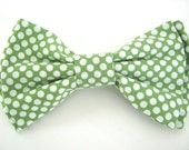 Dog Bow Tie Small Medium Large Green Polka Dot Bowtie