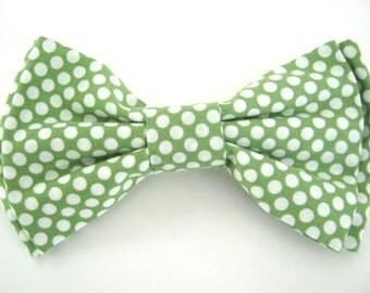 Dog Bow Tie Small Medium Large Green Polka Dot Bowtie