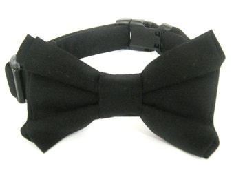 Bow Tie Dog Collar Black Bow Tie Collar Large Collar With Bow Tie Bowtie Collar Wedding Dog Collar Pet Collar Dog Collar