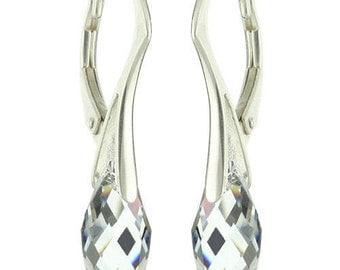 925 Sterling Silver Briolette Teardrop Swarovski Crystal Leverback Earrings