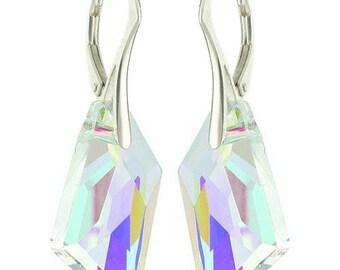 925 Sterling Silver De Art Swarovski Crystal Leverback Earrings
