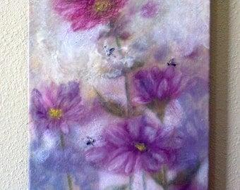 Encaustic - pink prairie flower, mixed media