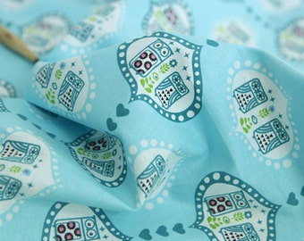Cotton Fabric Owl Sky Blue By The Yard