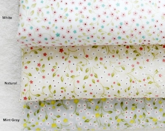 Laminated Cotton Fabric Petit Flower in 3 Colors By The Yard