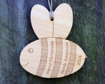 Bee Ornament Personalized Favor Babys First Christmas Gift For Girls