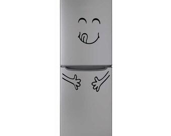 Happy Face Smile Fridge, Refrigerator Vinyl Sticker Decal   Kids Decal   Nursery Decoration    Smiley Sticker   Smiley Face  