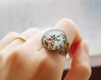VINTAGE STYLE COLLECTION:Vintage floral pattern watch dial adjustable glass dome ring, cabochon ring,Christmas gift. birthday gift