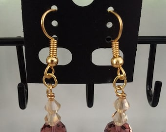 Swarovski Crystal Earrings- Wine and Peach
