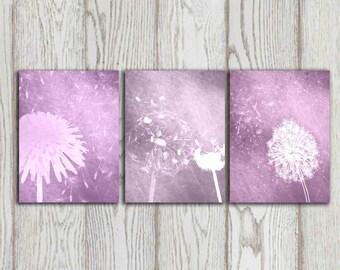 Purple Dandelion art Poster print Printable Dandelion Wall art Set of 3 Home decor Bedroom Digital Modern Abstract Flower INSTANT DOWNLOAD