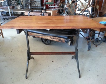 Vintage Drafting Table With Cast Iron Legs