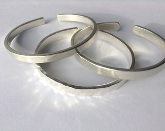 Hand Crafted Adjustable Chunky Silver  Bangle; Hammer or Polish finish - .925 Solid Sterling Silver