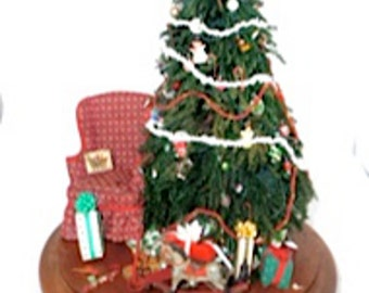 """Christmas tree in a 14""""glass dome 12"""" tree 30's style gifts, toys, cards and chair dollhouse miniature 1/12 scale"""