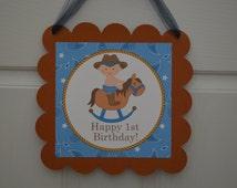 Cowboy Theme Happy Birthday Door Sign -Western Theme Sign - Blue Little Cowboy