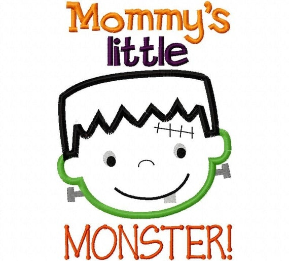 Mommy's Little Monster Halloween Applique Machine Embroidery Design 4x4 and 5x7