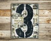 Industrial Art: 9x12 Typographic 3, Mixed Media Art, Original Painting, Typography art, Vintage 3, number 3, black, grey, gray, white, taupe