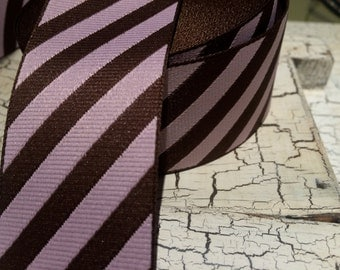 "1.5"" DIAGONAL Woven Ribbon Brown and Pink and more sold by the yard"