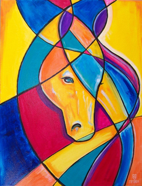 Favorite horse original cubism abstract painting 24 x for Picasso painting names