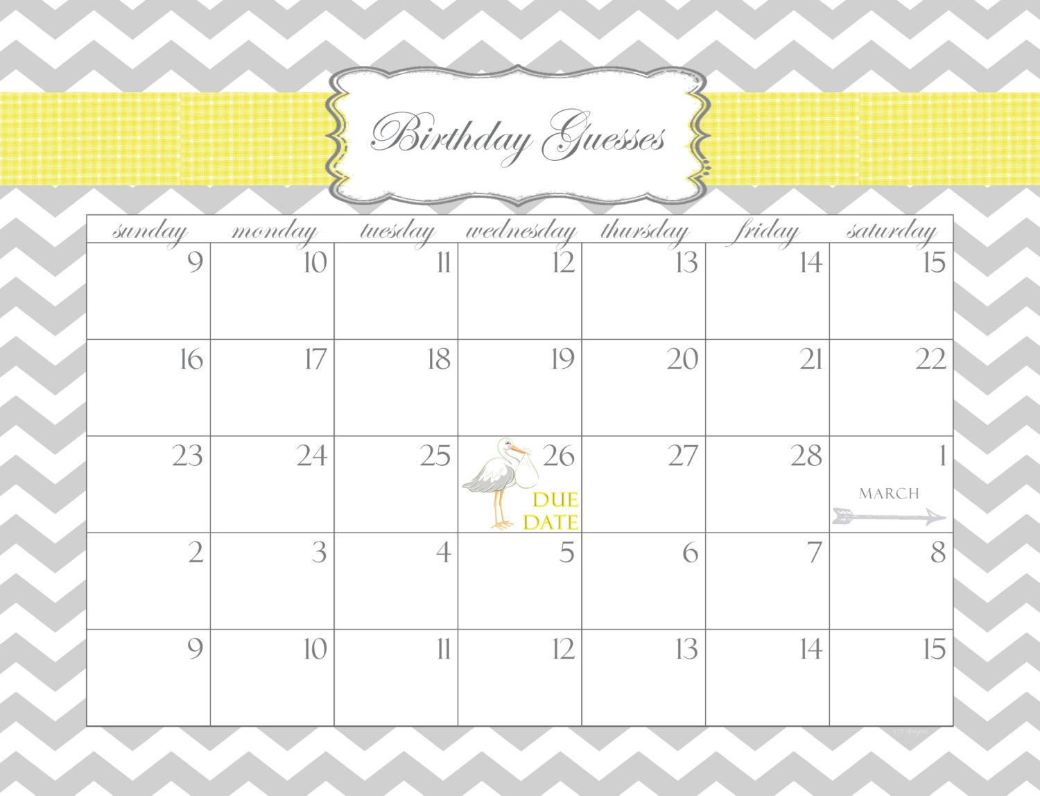 baby shower calendar printable pdf birthday guesses