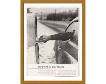 "1960 Vintage B&W Print / 60s Cold weather New York State / 9"" x 13"" /  Buy 2 ads Get 1 FREE"