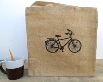 Tote Bag, Bicycle Tote Bag, Jute Tote Bag, Cotton Lining, Reversible Tote Bag, Screen Printed Tote Bag, Bicycle Tote
