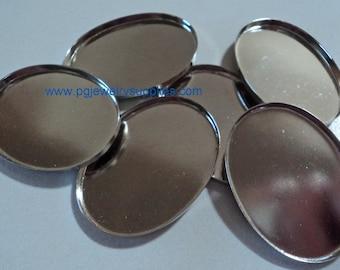 40mm x 30mm  Oval silvertone brass based  high wall bezel settings 6 pcs lot l