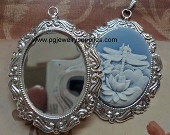 40mm x 30mm silver cameo settings with bails scroll edge BS8  2 pcs lot l end of stock