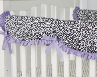 15% OFF SALE- Purple Leopard Crib Rail Cover for Bumperless Bedding