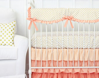 Coral and Gold Dot Ruffle Designer Baby Bedding | Crib Set in Peach, Coral, and Gold | Scalloped Teething Guard | Ruffle Crib Skirt