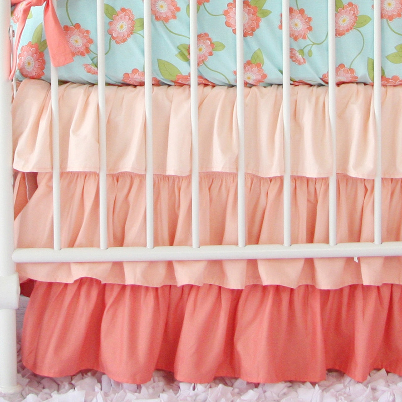 Coral Ombre Ruffle Crib Skirt Coral Baby by ...
