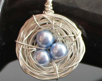 Birds Nest Sterling Silver Wire Wrapped Personalized Necklace