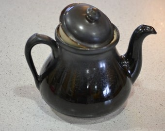 Tickled Pink Pottery Shiny Black Teapot