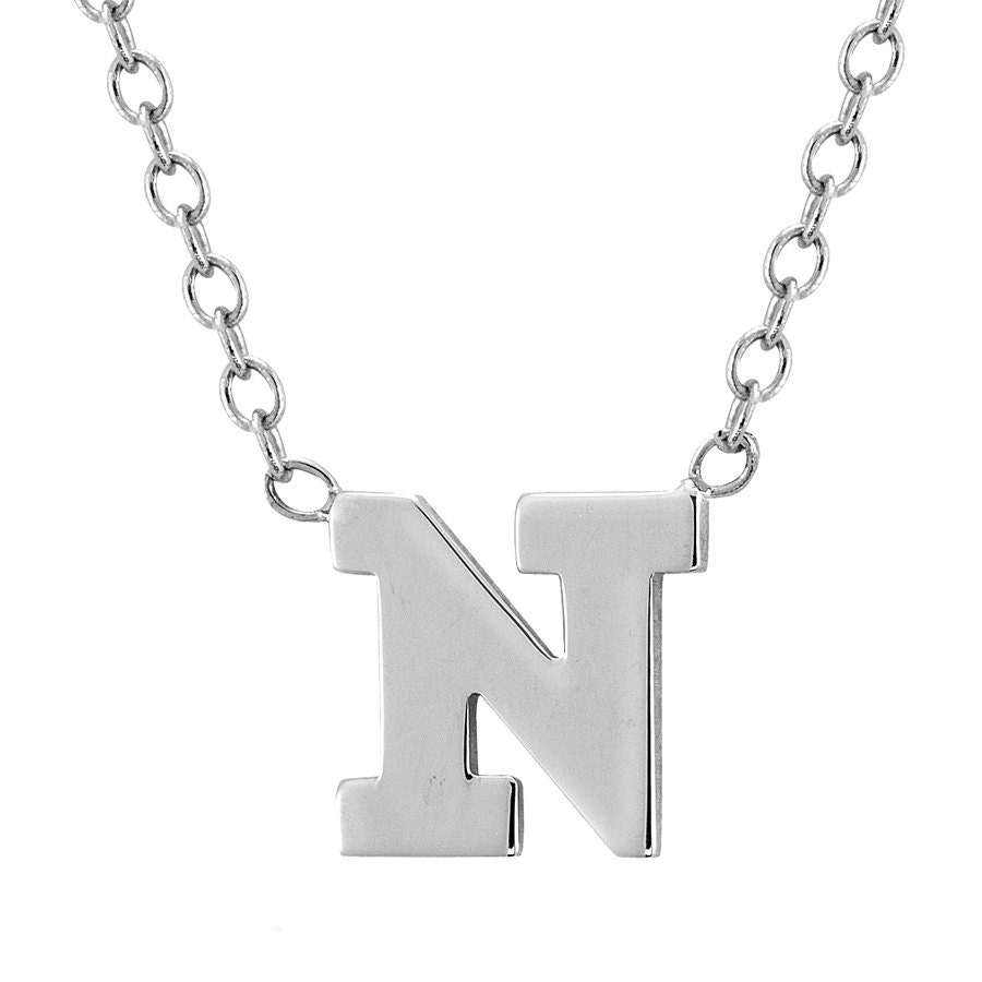 white gold initial necklace classic initial necklace
