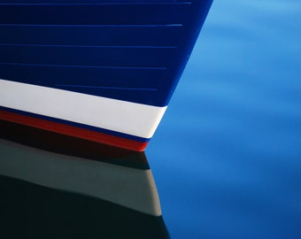 Boat Keel Reflection, Red White and Blue